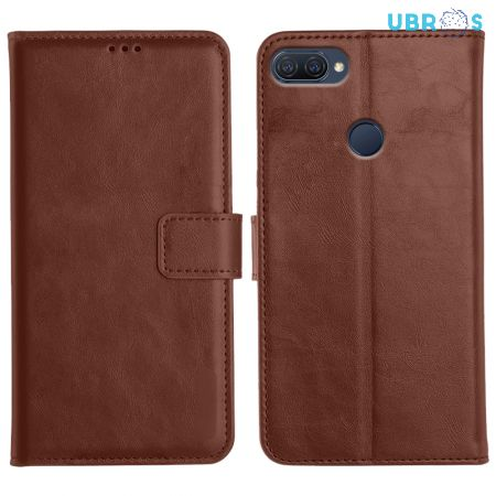 Oppo A12 Magnetic Flip Cover Leather Finish Mobile Case - Brown