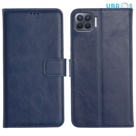 Oppo F17 Pro Magnetic Flip Cover Leather Finish Mobile Case - Blue