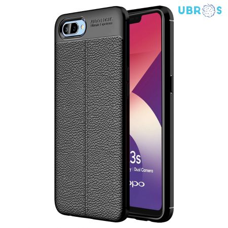Black Leather Texture Stitch Oppo A3S Back Case Cover