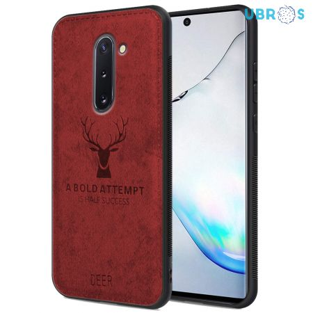 Samsung Galaxy Note 10 Back Case Cover Soft Fabric Deer Series - Red