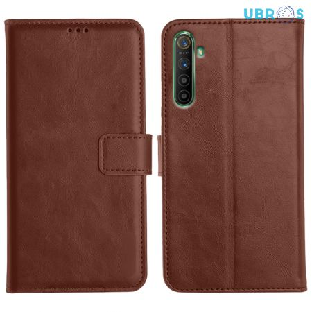 Realme X2 Magnetic Flip Cover Leather Finish Mobile Case - Brown