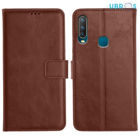 Vivo U10 Magnetic Flip Cover Leather Finish Mobile Case - Brown