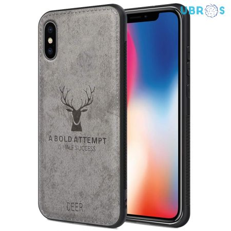 iPhone X Back Case Cover Soft Fabric Deer Series - Grey