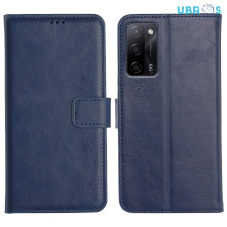 Oppo A53S Flip Back Cover Leather Finish Mobile Case - Blue