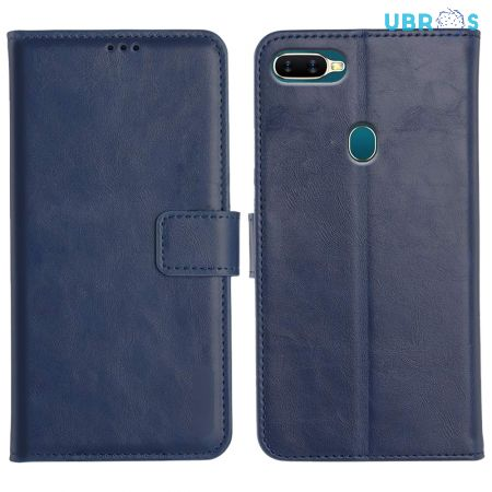 Oppo A5S Magnetic Flip Cover Leather Finish Mobile Case - Blue