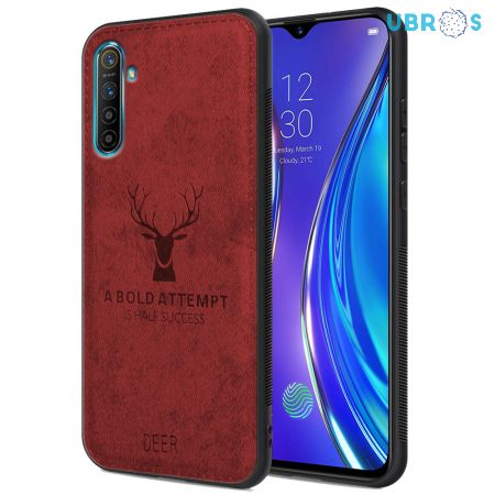 Realme XT Back Case Cover Soft Fabric Deer Series - Red