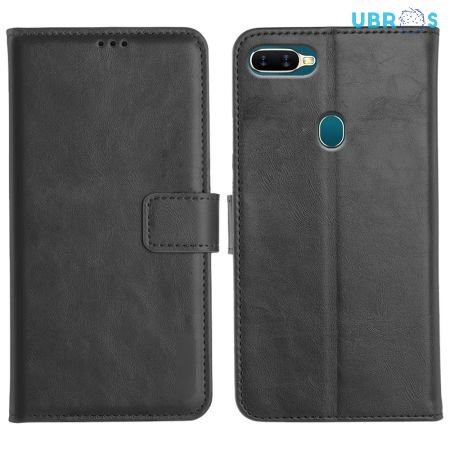 Oppo A5S Magnetic Flip Cover Leather Finish Mobile Case - Black
