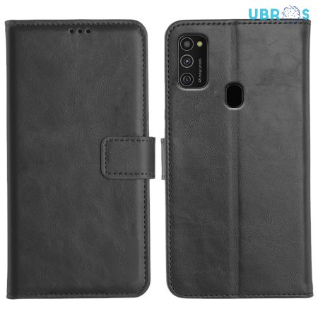Samsung Galaxy M21 Magnetic Flip Cover Leather Finish Mobile Case - Black
