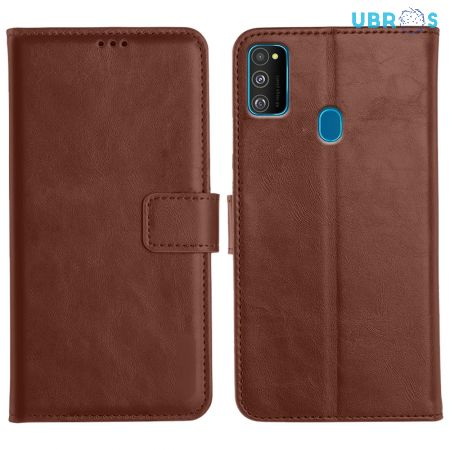 Samsung Galaxy M30s Magnetic Flip Cover Leather Finish Mobile Case - Brown
