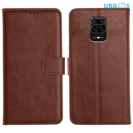 Redmi Note 9 Pro Magnetic Flip Cover Leather Finish Mobile Case - Brown