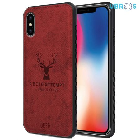 iPhone X Back Case Cover Soft Fabric Deer Series - Red