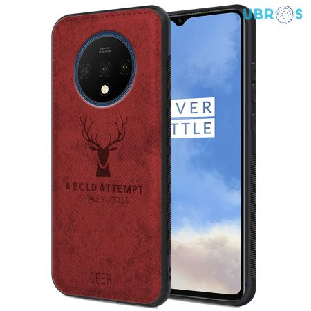 OnePlus 7T Back Case Cover Soft Fabric Deer Series - Red
