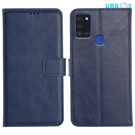 Samsung Galaxy A21S Magnetic Flip Cover Leather Finish Mobile Case - Blue