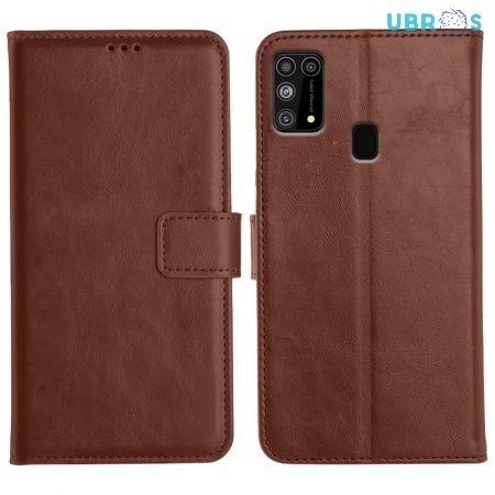 Samsung Galaxy M31 Magnetic Flip Cover Leather Finish Mobile Case - Brown