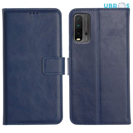 Redmi 9 Power Magnetic Flip Cover Leather Finish Mobile Case - Blue