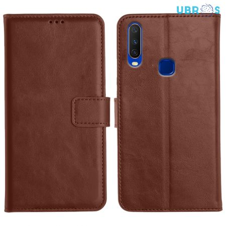 Vivo Y15 Magnetic Flip Cover Leather Finish Mobile Case - Brown