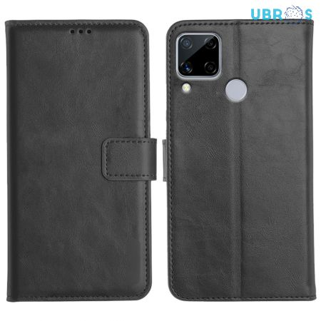 Realme C15 Magnetic Flip Cover Leather Finish Mobile Case