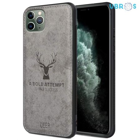 iPhone 11 Pro Max Back Case Cover Soft Fabric Deer Series - Grey