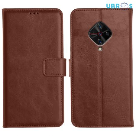 Vivo S1 Pro Magnetic Flip Cover Leather Finish Mobile Case - Brown
