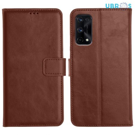 Realme X7 Pro Magnetic Flip Cover Leather Finish Mobile Case - Brown