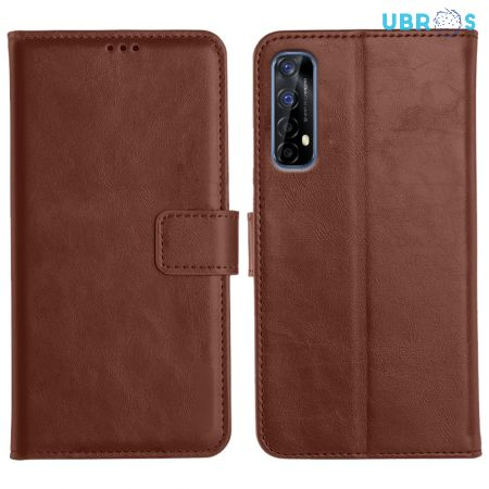 Realme 7 Magnetic Flip Cover Leather Finish Mobile Case - Brown