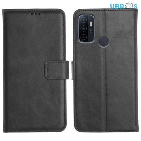 Oppo A33 Flip Back Cover Leather Finish Mobile Case - Black