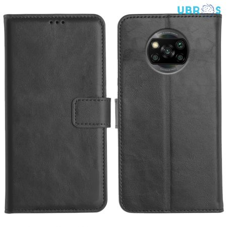 Poco X3 Magnetic Flip Cover Leather Finish Mobile Case