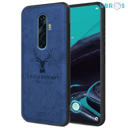 Oppo Reno 2Z Back Case Cover Soft Fabric Deer Series - Blue