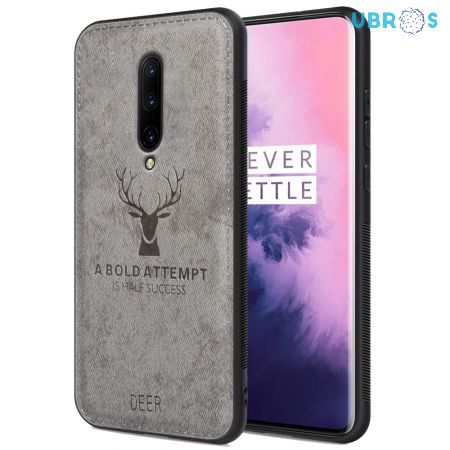 OnePlus 7 Pro Back Case Cover Soft Fabric Deer Series - Grey