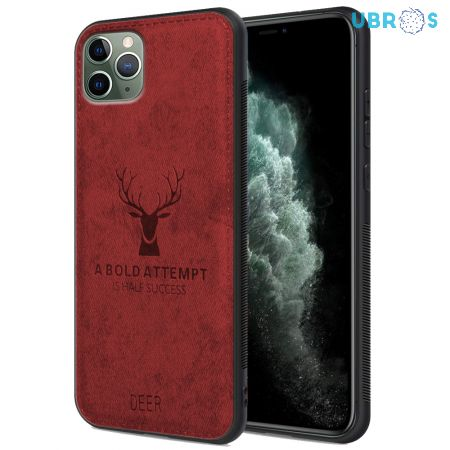 iPhone 11 Pro Max Back Case Cover Soft Fabric Deer Series - Red