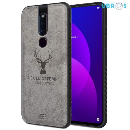Oppo F11 Pro Back Case Cover Soft Fabric Deer Series - Grey