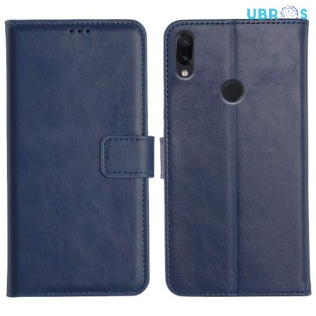 Redmi Note 7S Magnetic Flip Cover Leather Finish Mobile Case - Blue