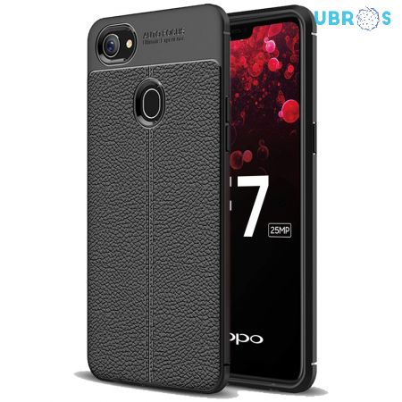 Leather Texture Stitch Oppo F7 Back Case Cover
