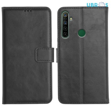 Realme 5i Magnetic Flip Cover Leather Finish Mobile Case - Black