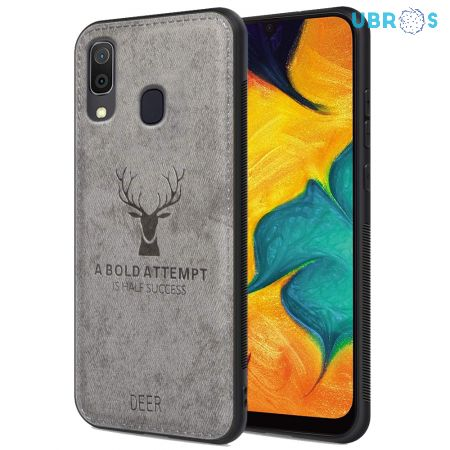 Samsung Galaxy A30 Back Case Cover Soft Fabric Deer Series - Grey