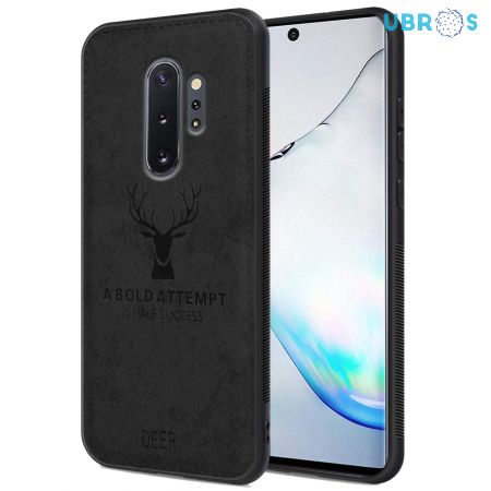 Samsung Galaxy Note 10 Plus Back Case Cover Soft Fabric Deer Series - Black