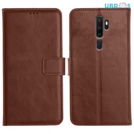 Oppo A5 2020 Magnetic Flip Cover Leather Finish Mobile Case - Brown
