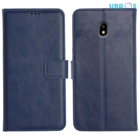 Samsung Galaxy J7 Pro Magnetic Flip Cover Leather Finish Mobile Case - Blue