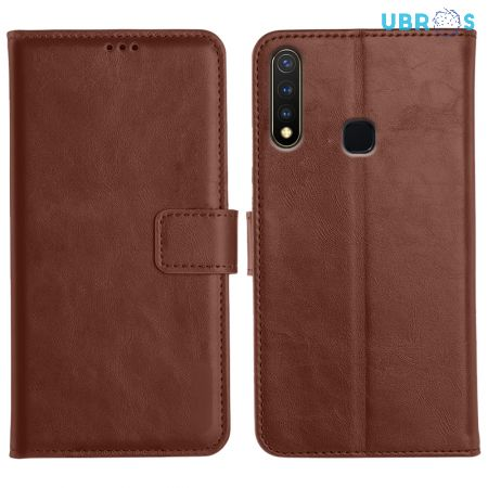 Vivo Y19 Magnetic Flip Cover Leather Finish Mobile Case - Brown