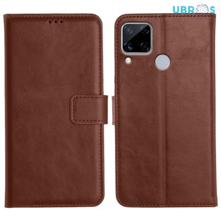 Realme C15 Magnetic Flip Cover Leather Finish Mobile Case - Brown