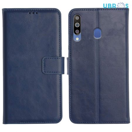 Samsung Galaxy M30 Magnetic Flip Cover Leather Finish Mobile Case - Blue