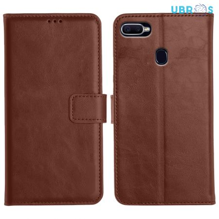 Oppo F9 Pro Magnetic Flip Cover Leather Finish Mobile Case - Brown