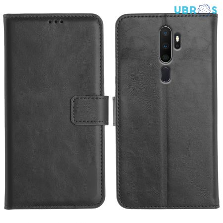 Oppo A5 2020 Magnetic Flip Cover Leather Finish Mobile Case - Black