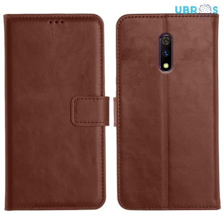 Realme X Magnetic Flip Cover Leather Finish Mobile Case - Brown