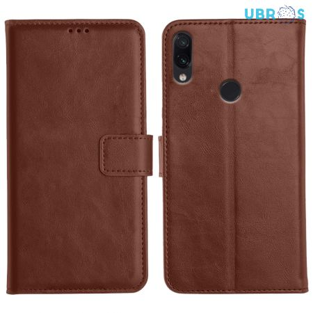 Redmi Note 7 Pro Magnetic Flip Cover Leather Finish Mobile Case - Brown