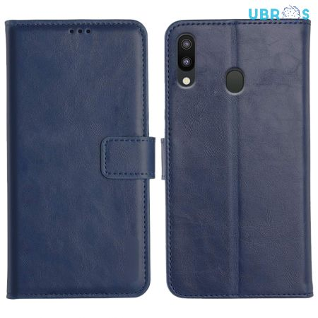 Samsung Galaxy M20 Magnetic Flip Cover Leather Finish Mobile Case - Blue