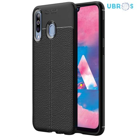 Black Leather Texture Stitch Samsung M30 Back Case Cover