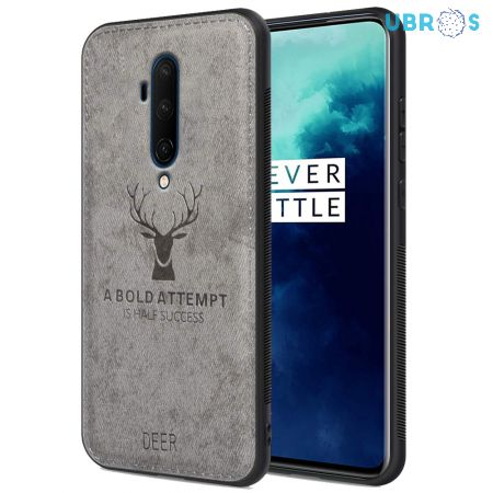 OnePlus 7T Pro Back Case Cover Soft Fabric Deer Series - Grey