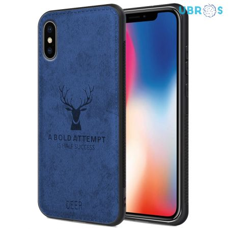iPhone X Back Case Cover Soft Fabric Deer Series - Blue