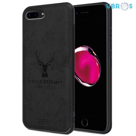 iPhone 7 Plus Back Case Cover Soft Fabric Deer Series - Black